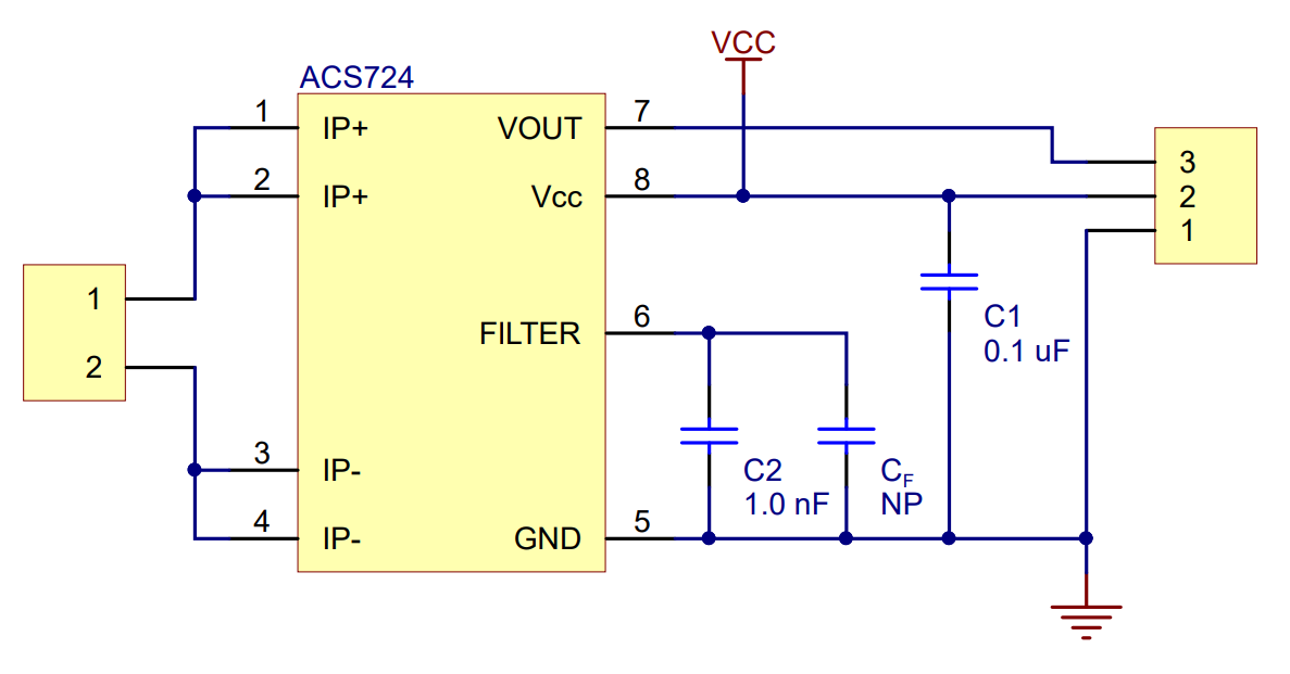 ACS724 Current Sensor Carrier -50A to +50A