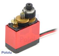 Metal gears and ball bearing in the Power HD miniature digital servo HD-1810MG.