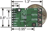 Bottom view of the Pololu high-power motor driver.