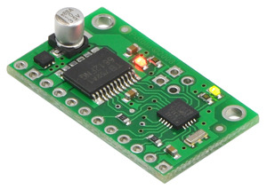 Pololu qik 2s9v1 dual serial motor controller (older version with large silver electrolytic capacitor).