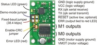 Top view of the qik 2s9v1 dual serial motor controller.