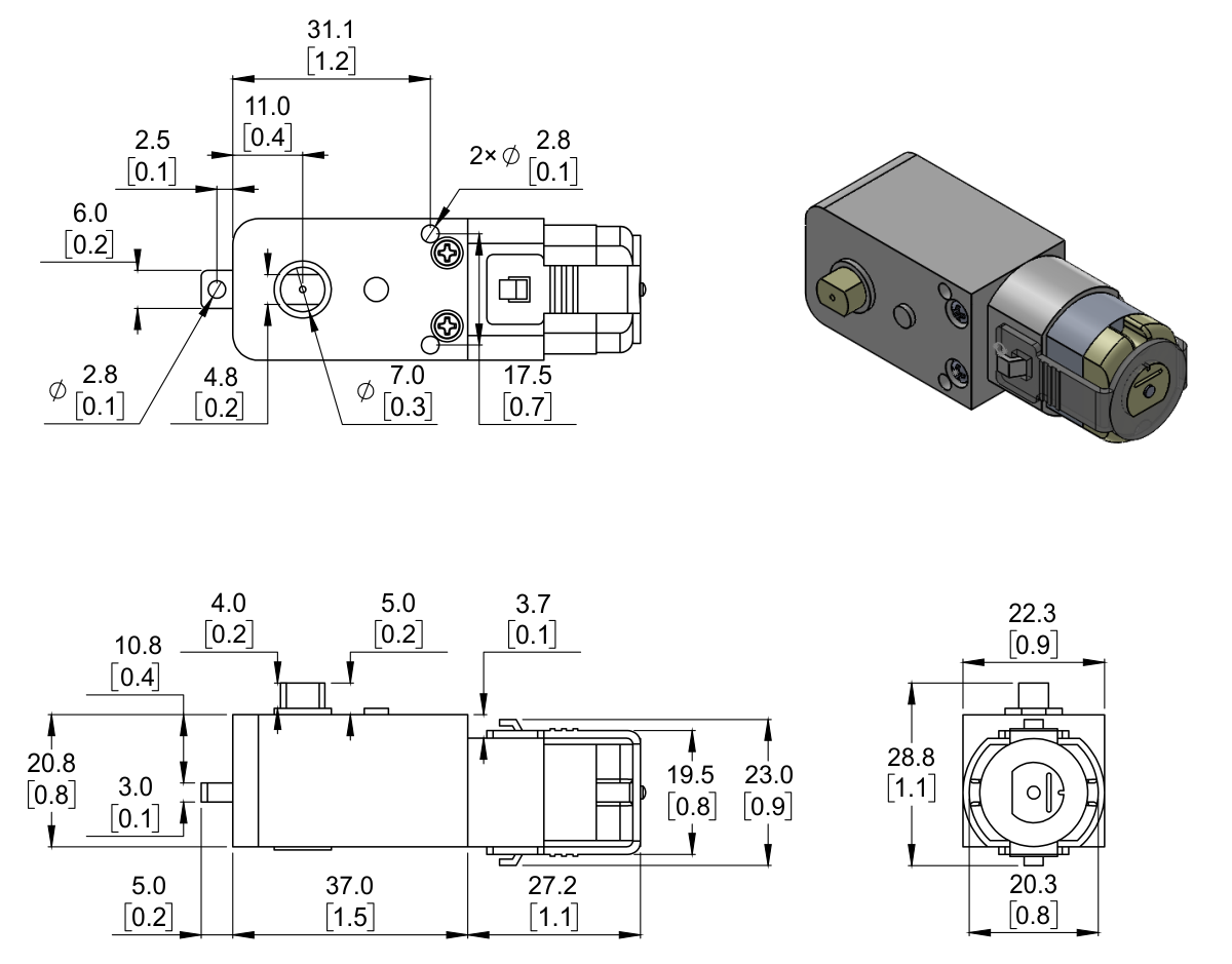 Pololu - 120:1 Plastic Gearmotor, 90° Output on