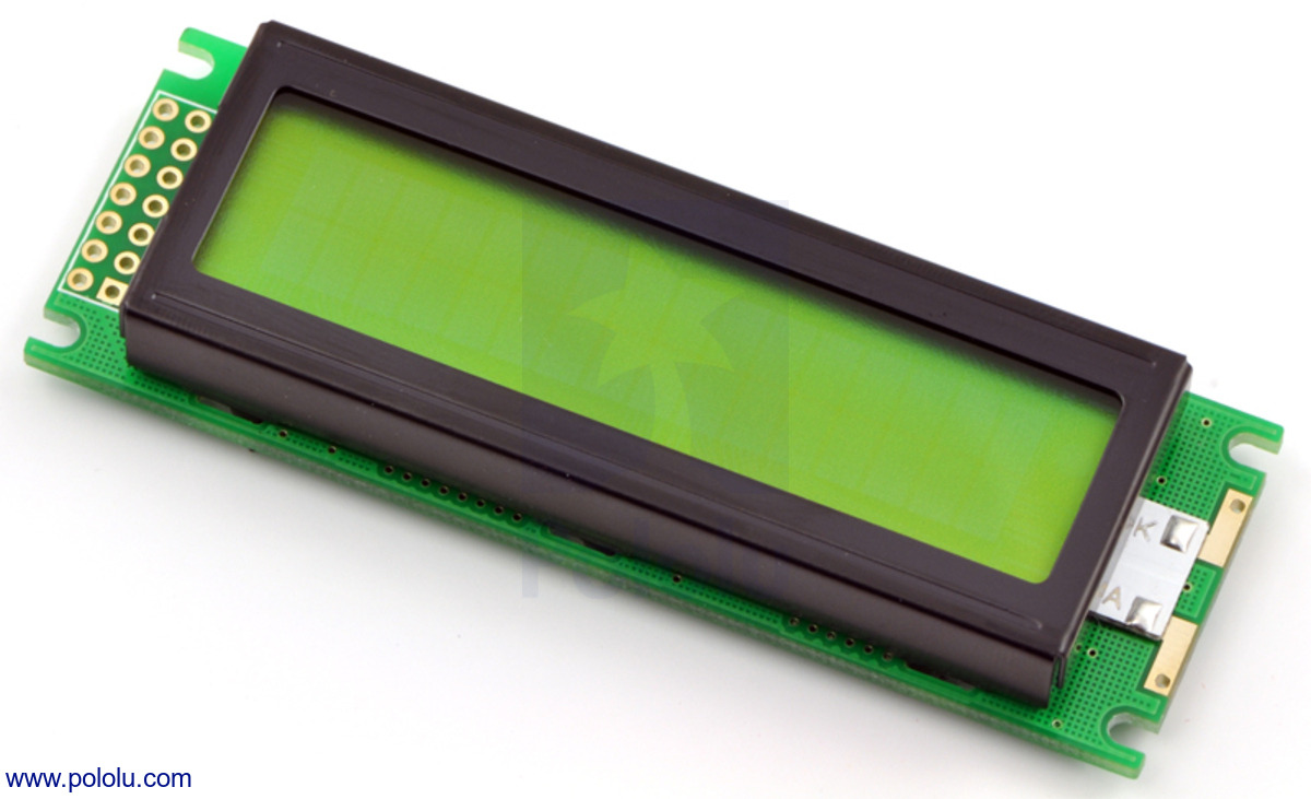 Pololu 16x2 Character Lcd With Led Backlight Parallel Interface Port Pinout Diagram Black On Green
