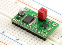 Qik 2s9v1 dual serial motor controller on a breadboard.