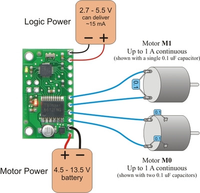 Pololu - 3.a. Power and Motor Connections