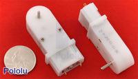 120:1 Mini Plastic Gearmotor, 90° 2mm Spline Output