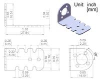 Mechanical drawing for the Pololu mini metal gearmotor bracket.