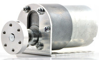 37D mm gearmotor with L-bracket and 6mm universal mounting hub.