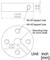 Mechanical drawing for the Pololu universal aluminum mounting hub for 4 mm shaft.