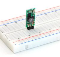 Pololu adjustable boost regulator in a breadboard.
