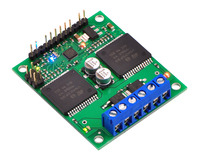 Pololu qik 2s12v10 dual serial motor controller with included hardware soldered in place.