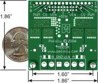 Pololu Dual High-Current Motor Driver Carrier (VNH2SP30 or VNH3SP30) back view with quarter and dimensions.