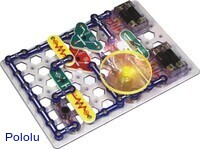 SC-300 Snap Circuits 300-in-1 with light and fan on.