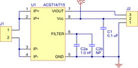 Pololu ACS714/ACS715 current sensor carrier schematic diagram.