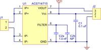 Pololu ACS714/ACS715 current sensor carrier schematic diagram.