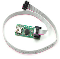 Pololu USB AVR programmer with included six-pin ISP cable.