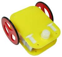Example of small robot chassis with a press-fit plastic ball caster.