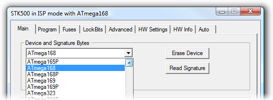 how to change device signature avr