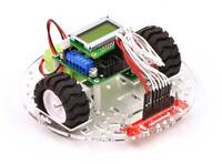 "Pololu 5"" round robot chassis RRC04A with an Orangutan SV-328 and a QTR sensor array."