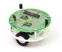 """Pololu 5"""" round robot chassis RRC04A with PCB01A 5"""" round prototyping PCB."""