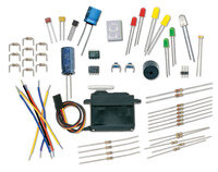 Selection of parts included in the BASIC Stamp Discovery Kit.