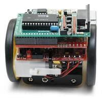 Back view of the Sumovore mini sumo robot kit.