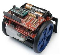 Top view of the Sumovore mini sumo robot kit.