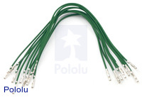 "Wires with Pre-crimped Terminals 10-Pack F-F 6"" Green"