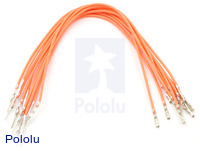 "Wires with Pre-crimped Terminals 10-Pack M-F 6"" Orange"