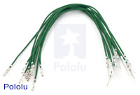 "Wires with Pre-crimped Terminals 10-Pack M-F 6"" Green"