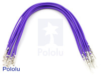 "Wires with Pre-crimped Terminals 10-Pack M-F 6"" Purple"