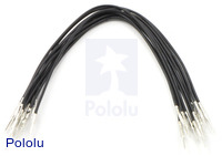 "Wires with Pre-crimped Terminals 10-Pack M-M 6"" Black"