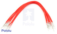 "Wires with Pre-crimped Terminals 10-Pack M-M 6"" Red"