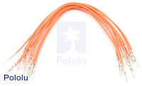 "Wires with Pre-crimped Terminals 10-Pack M-M 6"" Orange"