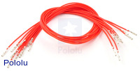 "Wires with Pre-crimped Terminals 10-Pack F-F 12"" Red"