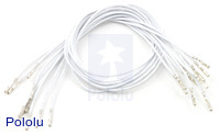 "Wires with Pre-crimped Terminals 10-Pack F-F 12"" White"