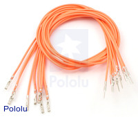 "Wires with Pre-crimped Terminals 10-Pack M-F 12"" Orange"