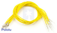 "Wires with Pre-crimped Terminals 10-Pack M-F 12"" Yellow"