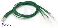 "Wires with Pre-crimped Terminals 10-Pack M-F 12"" Green"