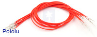 "Wires with Pre-crimped Terminals 10-Pack M-M 12"" Red"