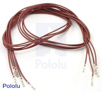 "Wires with Pre-crimped Terminals 5-Pack F-F 24"" Brown"