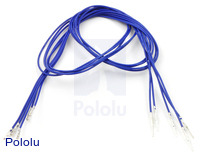 "Wires with Pre-crimped Terminals 5-Pack M-F 24"" Blue"