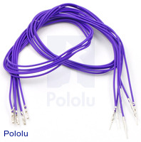 "Wires with Pre-crimped Terminals 5-Pack M-F 24"" Purple"