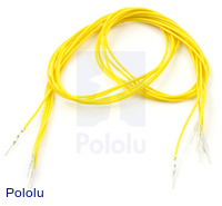 "Wires with Pre-crimped Terminals 5-Pack M-M 24"" Yellow"