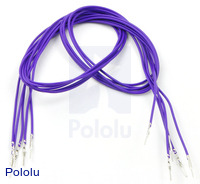 "Wires with Pre-crimped Terminals 5-Pack M-M 24"" Purple"