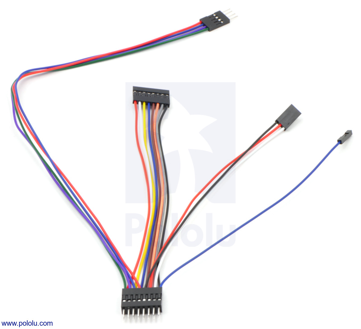 """Pololu Wires with Pre-crimped Terminals 50-Piece Rainbow Assortment F-F 6/"""" 1800"""