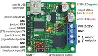 Pololu jrk 21v3 USB motor controller with feedback, labeled top view.
