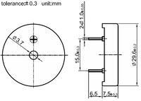 30mm piezo buzzer dimensions (in mm).