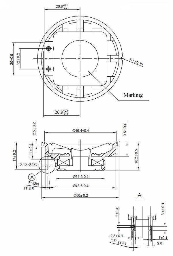 50mm speaker  8 ohm  1 w