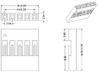 """Dimensions (in mm) for single-row 0.1"""" crimp connector housings."""